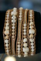 NEW Chan Luu Gold Seed Bead Beige Graduated Skull 5 Wrap Naturl Leather Bracelet