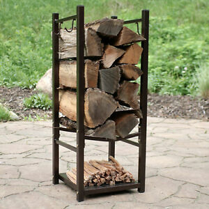 Sunnydaze Log Rack with Tool Holders Steel with Bronze Finish Firewood Storage