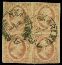 NETHERLANDS #2, Block of 4, used w/Haarlem 1861 cancel, RARE MULTIPLE