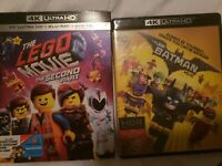 The Lego Movies The Second Part + Batman 4k Cases No 4k Discs only Bluray + dvd
