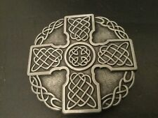 Silver CELTIC Cross in Circle Logo New BELT BUCKLE New Metal Pewter