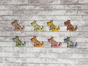 20 Wooden Dog Buttons Scottie Colourful Craft Sewing Supply Novelty Scrapbooking