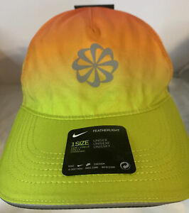 New Nike Pinwheel Featherlight Aerobill Dri-Fit Baseball Hat Running Cap Ombré