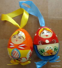 """set of 2 ornament Russian hand painted wood egg-doll 2.5"""""""