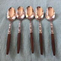 Northland Oneida Napa Valley 5 Teaspoons Faux Wood Stainless Flatware Japan Vtg