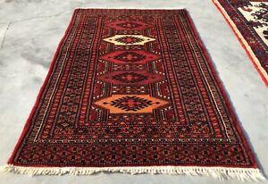 Hand knotted Vintage Pakistan Bokhara Jhaldar Wool Area Rug 3 x 2 Ft (1477 KBN)