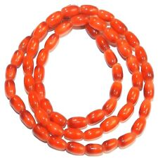 G657 Red Copper 7mm Tapered Oval Cat's Eye Glass Beads 16""