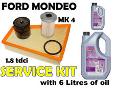 MK4 Ford Mondeo Diesel 1.8 TDCi Oil Air Fuel Filters + Oil Service Kit 2007 on