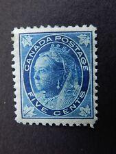"#70 MH  5c lovely, dark blue ""Queen Victoria ""Leaf"" Issue, 1897  CV=$250.00"