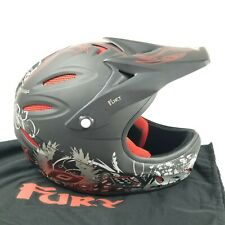 O'Neal Fury Skull & Guns Insignia Bicycle Cycle Helmet Black/Gry/Red Size Large
