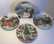 Pottery Barn Winter Village Christmas Dessert Salad Plates S/4 NIB 9.5'~Retired