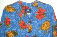 Mens Hawaiian Shirt XL Mango Moon Bright & Bold Pineapple Floral Aloha Tikki