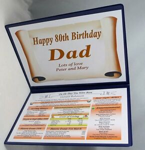 SPECIAL 80TH BIRTHDAY GIFT - THE DAY YOU WERE BORN - FULLY PERSONALISED KEEPSAKE