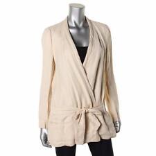 Zara Basic Womens Ivory Linen Collarless Tie Front Jacket Blazer M BNWT