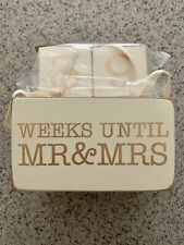 Wedding Countdown Wood Block Set Days Until Mr. & Mrs. Set of 6 Blocks w/Chalk