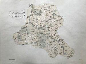 1813 Antique Map; The Neighbourhood of Windsor after Hakewill