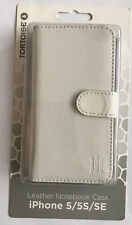 TORTOISE APPLE IPHONE 5/5S/SE White LEATHER NOTEBOOK CASE - BRAND NEW