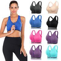 Women Sports Bras Front Zipper Activewear Tank Vest Yoga Running Workout Fitness