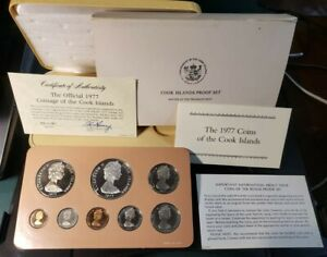 1977 COOK ISLANDS 8 COIN PROOF SET INCLUDES 1 SILVER 5 DOLLARS/NICE SET FREE S/H
