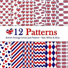 Union Jack British Red Blue Printed Bow Fabric A4 Make glitter hair bows canvas