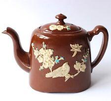 Antique Teapot Brown Glaze Majolica Cream Gilt & Blue Bird Blossom & Dragonfly