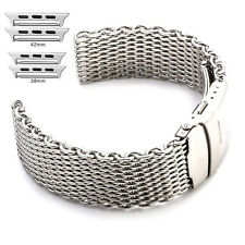 Thick Stainless Steel Shark Mesh Bracelet Watch Band Strap For Apple Watch 38MM