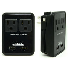 Electrical Outlet, Wall USB Plate, Receptacle, Electrical Plug, 2USB Ports Black