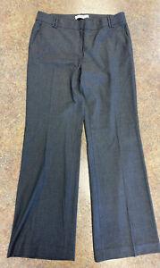 Ann Taylor LOFT women Dark Gray Flat front Zip up formal business slacks sz 6