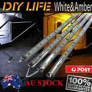 12V Waterproof Amber Cool White Led Strip Lights Bars Camping Caravan Boat Car