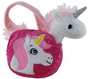 Soft toy child's removeable unicorn and handbag bag pink purple AUS STOCK