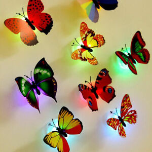 5Pcs Colorful Changing Butterfly LED Night Light Lamp Room Party Wall Decor