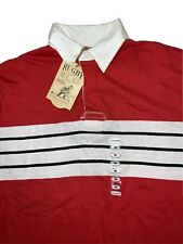 Men's Long Sleeve Medium NWT Red White Long Sleeve Collared Rugby Polo Shirt