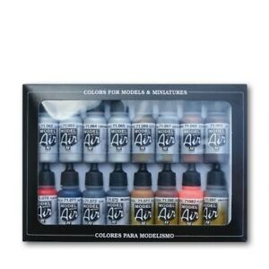 Vallejo 71181 Model Air Metallic Effects 16 Colour Acrylic Airbrush Paint Set