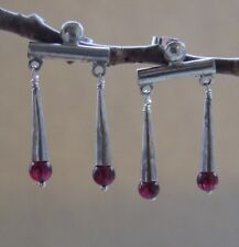 Silver Garnet Replica Roman Earrings