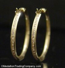 14k Solid Yellow Gold Channel Set CZ Stone Round Eternity 25mm 1 Inch Hoops