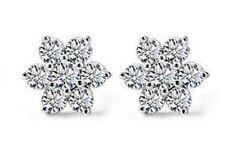 Cute Snowflake Zirconia Ear Studs Earrings Women's 925 Sterling Silver Jewellery
