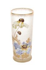 Legras Mont Joye -Beautiful Art Nouveau Hand painted Enamel Glass Vase -Signed