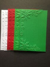 6 Red, Green and White Cardstock Embossed Toppers No. 5 - Holly - Christmas