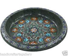"14"" Marble Fruit Bowl Multi Inlay Semi Stone Mosaic Floral Handmade Decor H540"