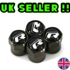 4 x Matt Black Tyre Valve Dust Caps (Fits VW R LINE )