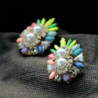 Riccioli D`Orecchie a Perno Perline Fiore Multicolore Originale Matrimonio Nn 1
