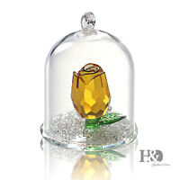 Crystal Yellow Rose Figurine Hanging Deco Pendant Xmas Wedding Gift Ornaments
