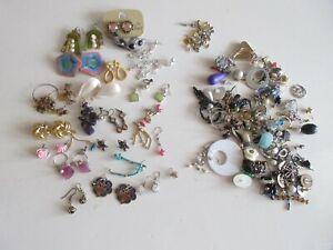joblot modern/vintage earrings, pairs, odds & earring backs