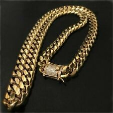 Hip Hop Jewelry Mens Necklace 18k Gold Plated Miami Cuban Chain Rapper Iced Out