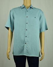 Campia Moda Mens Teal Blue Short Sleeve Button-Down Sport Shirt M
