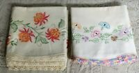 Vintage Embroidered Pillowcases w/ floral designs Lot of 2 sets
