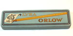 Vintage Lyra Orlow Drawing Pencils Dozen Pencil Metal Tin Box 1940s Germany C17
