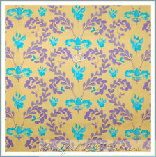 BonEful Fabric FQ Cotton Quilt Purple Aqua Yellow Leaf Flower Damask Heart Crown