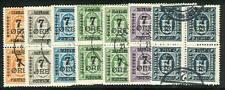 Dinamarca #185-91 (124-30) Conjunto Completo Usado Bloques de 4 , Scott