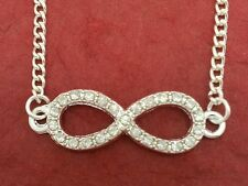 Infinity Necklace Charm Pendant and silver plated chain